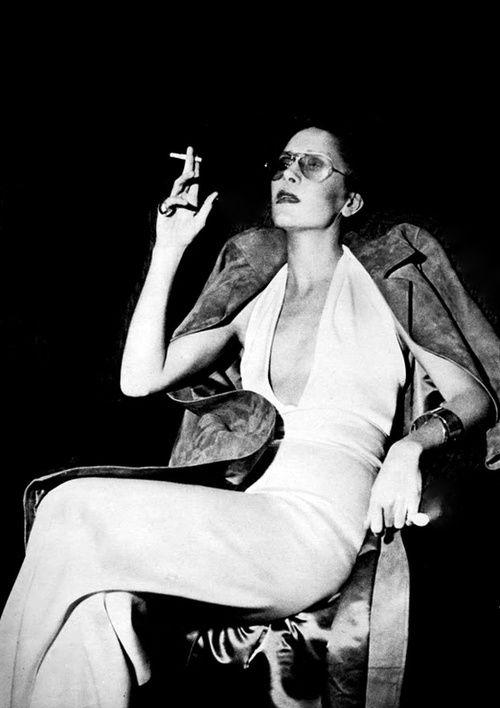 Jewllery designer Elsa Peretti wearing Halston, 1970's