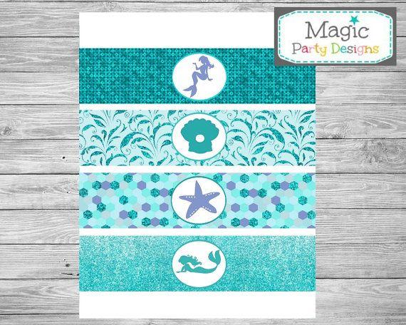 Mermaid party agua etiquetas de las botellas por MagicPartyDesigns