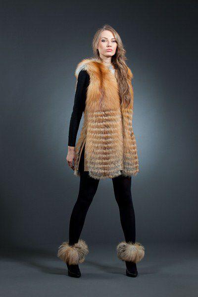 Лина, лиса огнёвка арт № 700-1402 длинный жилет из меха лисы