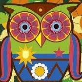 eule cartoon : psychodelic Kunst Porträt eines Comic-owl Illustration