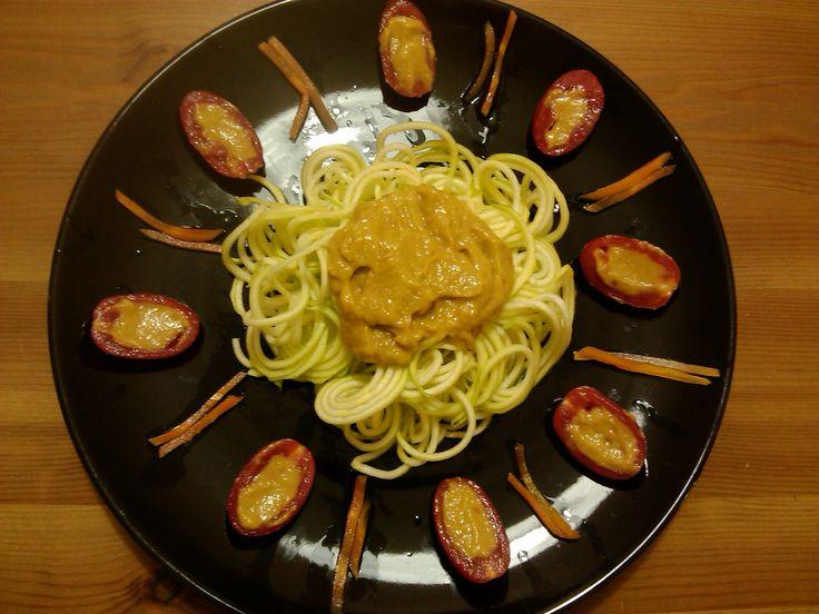 Ricetta di Alice Rapieri Ecco la mia ricetta L'ho voluta chiamareSole Fruttariano Ingredienti: Salsa tipo guacamole 1 zucchina medio/grossa Mezza carota 4 pomodori datterini  Per la salsa tipo g...