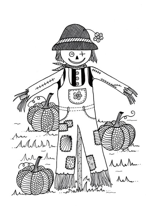 8x11 girl scarecrow coloring pages | Scarecrow in Pumpkin Field Adult Coloring Page | Coloring ...