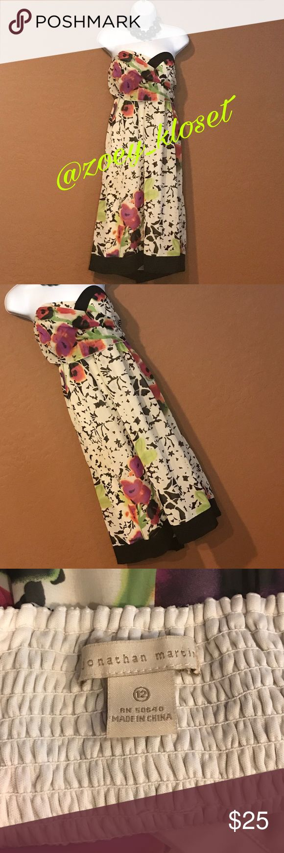 👗 Jonathan Martin Floral Tube Top Dress Excellent Condition, Tube Top, Extra Stretch Back, Lined, Great Colors & Print. Jonathan Martin Dresses