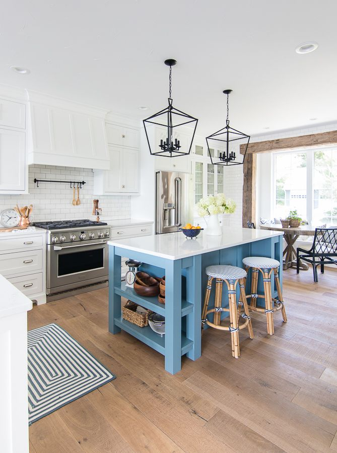 White And Blue Lake House Kitchen The Lilypad Cottage Lake House Kitchen Interior Design Kitchen Home Kitchens