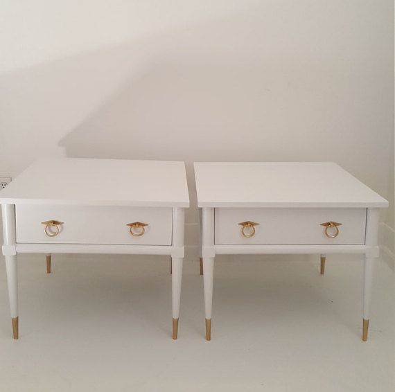 Sold.....2 Mid Century Modern End Tables, White And Gold