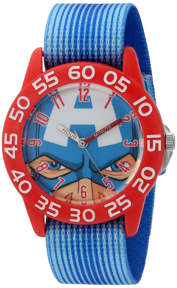 Marvel Boy's 'Captain America' Quartz Plastic and Nylon Automatic Watch, Color:Blue (Model: W003256). Meets or exceeds all US Government requirements and regulations for Kid's watches. 1 year limited manufacturer's warranty. Analog-quartz Movement. Case Diameter: 32mm. Water Resistant To 30m (100ft): In General, Withstands Splashes or Brief Immersion In Water, but not Suitable for Swimming or Bathing.