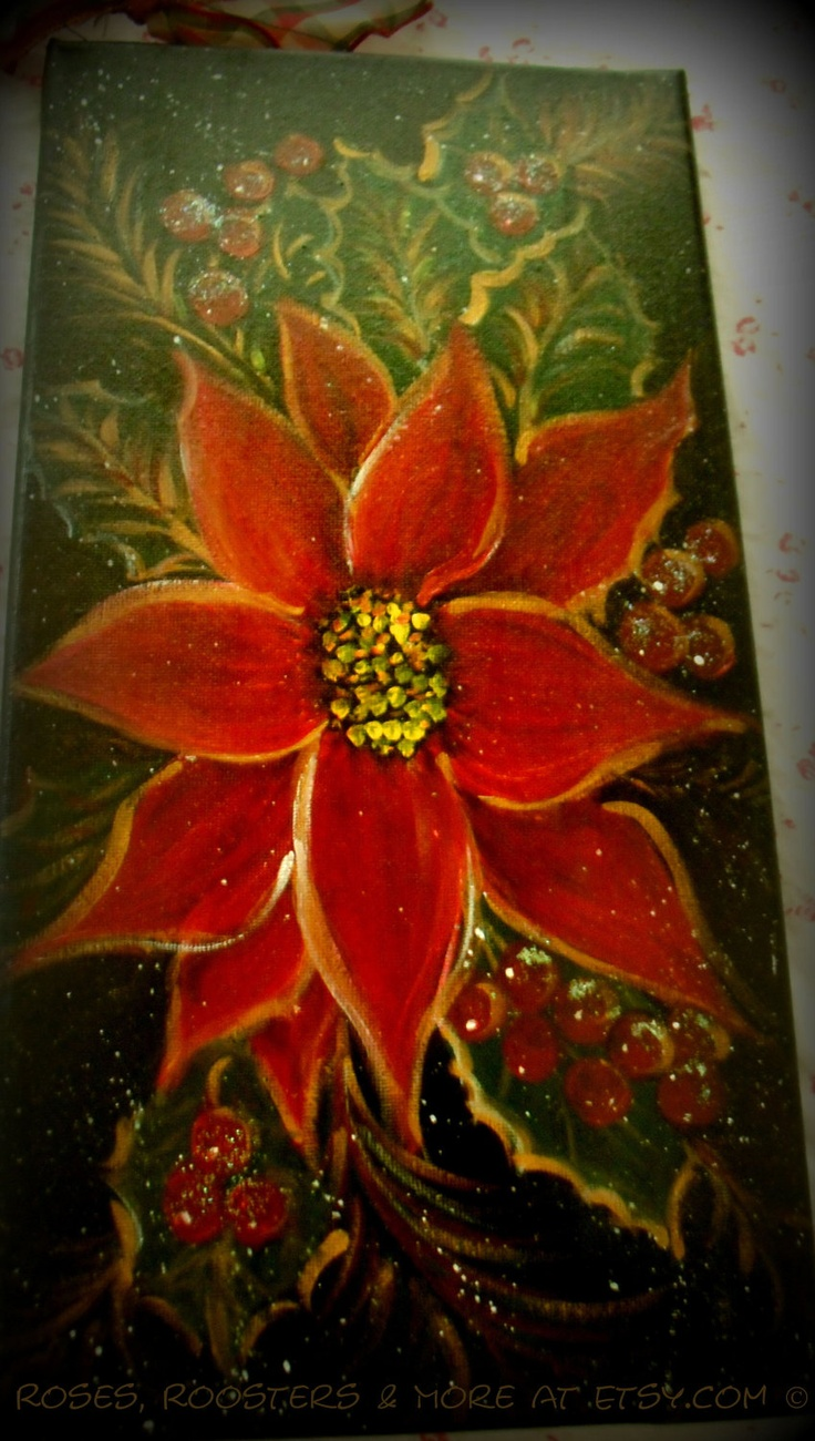 POINSETTIA - Christmas Painting - 7 x 14 - Wall hanging - Shipping included in Price. $28.00, via Etsy.