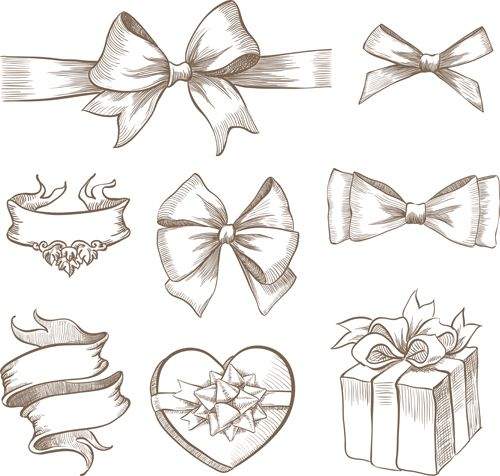 Hand+Drawn+Bow | Free EPS file Hand drawn ribbon bow and gift boxes vector 01 download