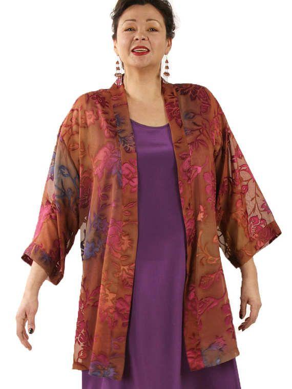Plus-Size Mother of the Bride Tunic-Length Kimono Jacket Ruby Purple Copper Floral Burnout by Peggy Lutz Sizes 18/20, 22/24