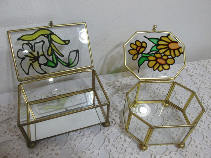 Terrarium Brass and Glass Set of 2 Small Display Cases Colored Flower on the Lids by LuRuUniques on Etsy