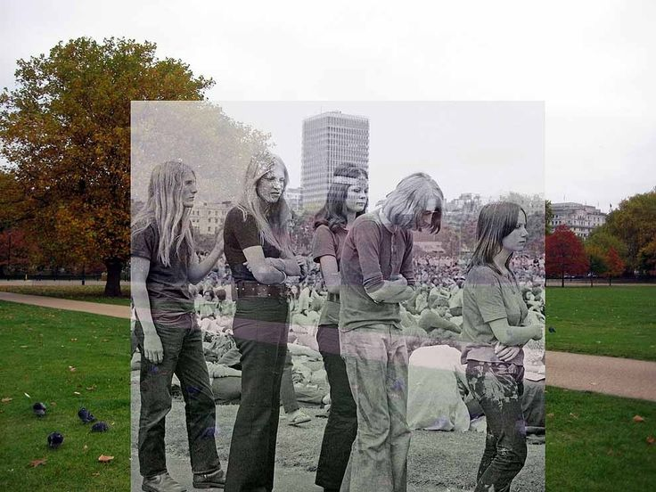 People queue at a music festival, Hyde Park, 1970. | 18 Photos Of London's Past, Blended With Its Present