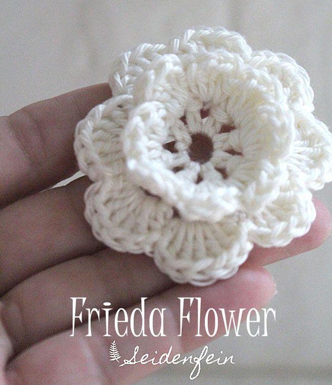 Anleitung f�r die H�kelbl�te Frieda * Crochet flower Frieda Tutorial