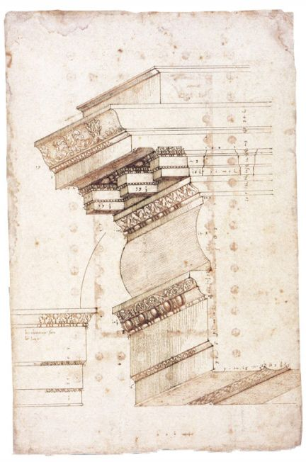 Andrea Palladio Profile Of The Upper External Entablature And Architrave Detail Temple