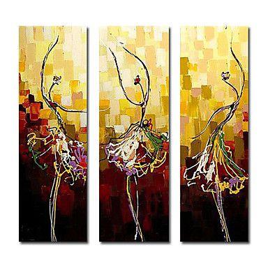 met de hand geschilderd abstract olieverfschilderij met gestrekte frame - set van 3 – EUR € 90.74