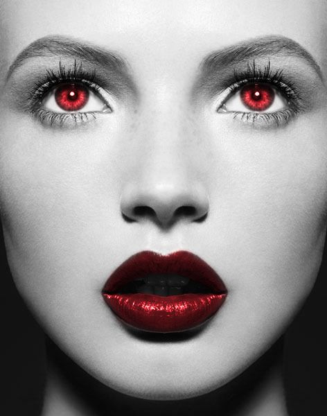 red lips, red eyes