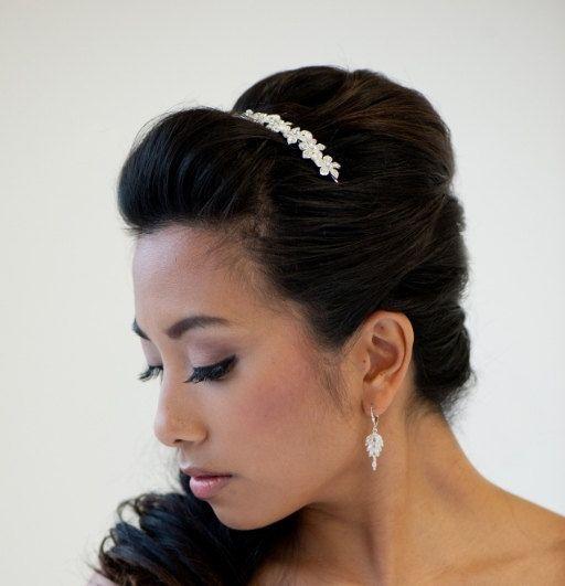 Bridal Headband, Silver Headband, Freshwater Pearl Headband, Bridal Head Piece - ERICA