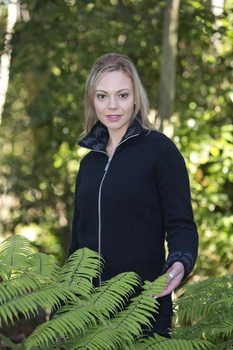 Beautiful possum, merino zip jacket with fern pattern on collar and cuffs Have the warmth without the weight, luxuriously soft, low pilling and long wearing A modern twist on a traditional garmen...