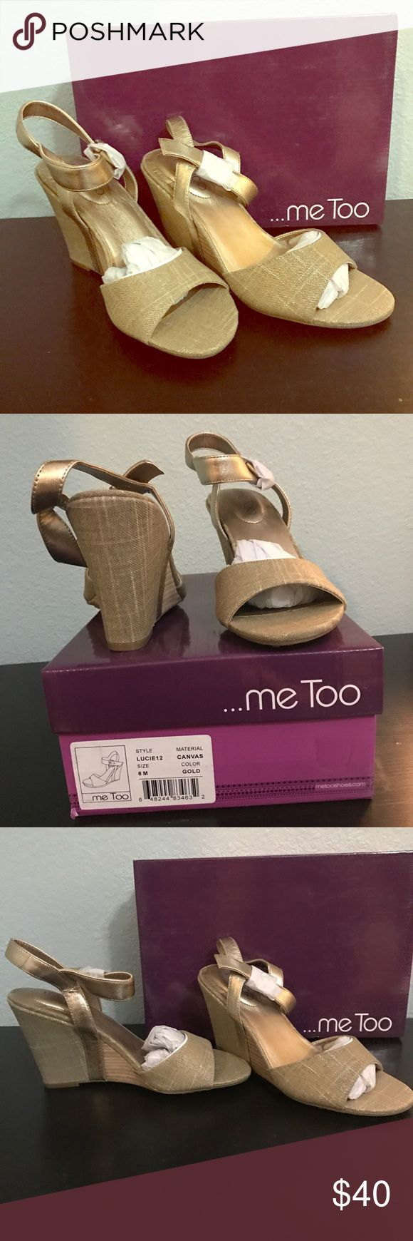 New Me Too Lucie12 Gold Open Toe Sandal Wedge 8 Brand new in the box never been worn Me Too Lucie 12 Gold Canvas Open Toe Sandal Wedge Women's Size 8  Gold! These were in QVC because they are so comfortable and cute- they have so many uses me too Shoes Sandals