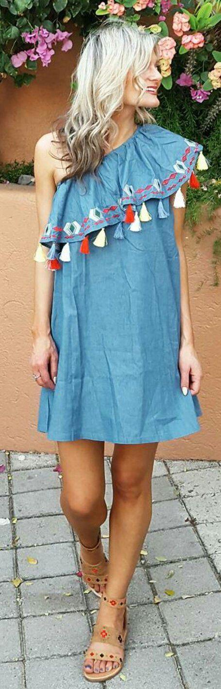 Denim Off Shoulder Dress / Camel Pumps
