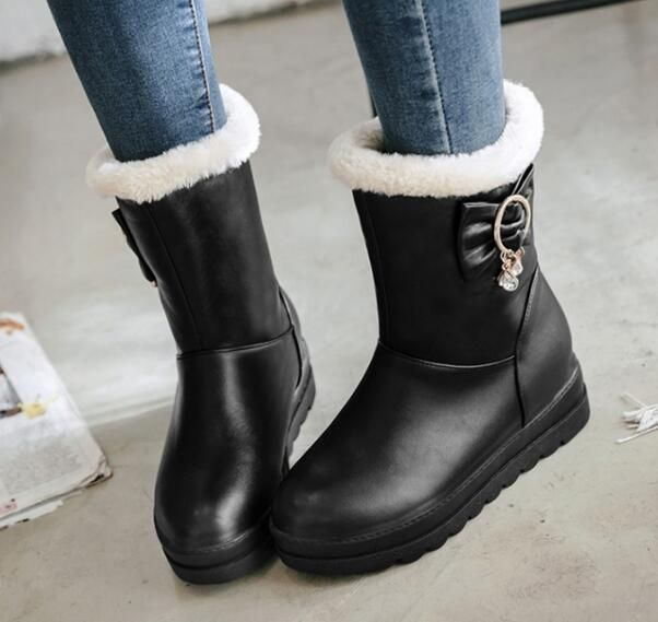 Women Fashion Pull On Winter Mid High Boots