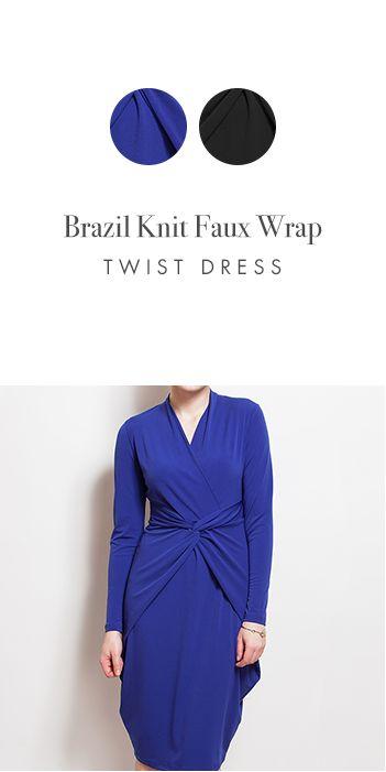 BRAZIL KNIT FAUX WRAP TWIST DRESS http://www.kimco.ca/product/ls-faux-wrap-twist-fr-dress/