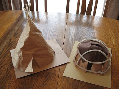 Tepee and wigwam. Made from pipecleaners and felt and paper.
