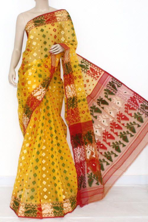 Yellow Handwoven Bengali Tant Kora Cotton Jamdani Saree (Without Blouse) 17211