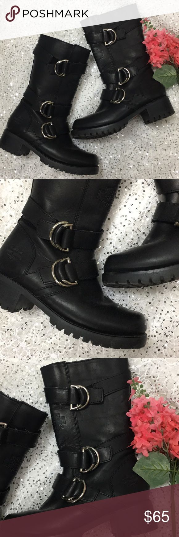 """Harley-Davidson Motorcycle Riding Mid-Calf Boots Harley-Davidson Motorcycle Riding Boots Black With Silver Buckles Mid-Calf Side Zip 1.5"""" Heel Leather Upper Balance  Man Made Materials  Size 5.5 Excellent Preowned Condition Harley-Davidson Shoes Combat & Moto Boots"""