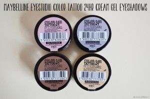 My first make-up post, and it's not about MAC Cosmetics or lipstick! I had to pick these beauties to start off with. The Maybelline EyeStudio Color Tattoo 24hr Cream Gel Eyeshadows.