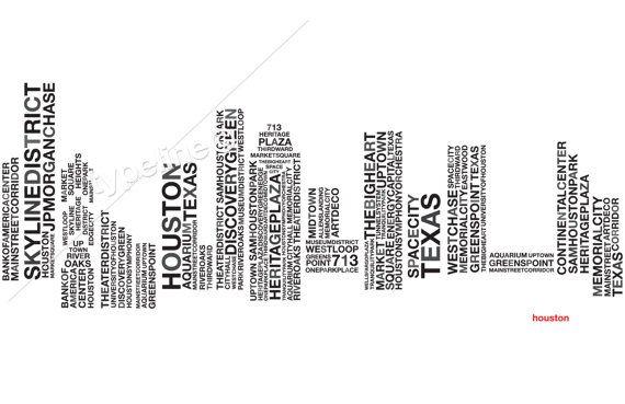 Houston Skyline  Texas City Skyline  Typography  Print by typeline, $27.00