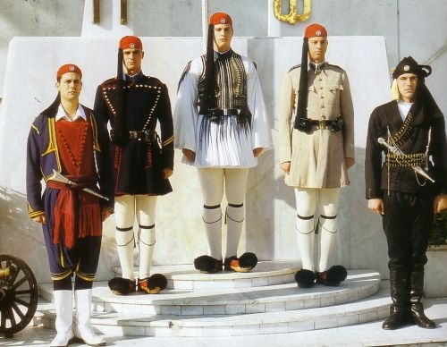 From the left: Cretan Uniform, Winter Doulamas, Ceremony Uniform, Summer Doulamas, Pontian Uniform