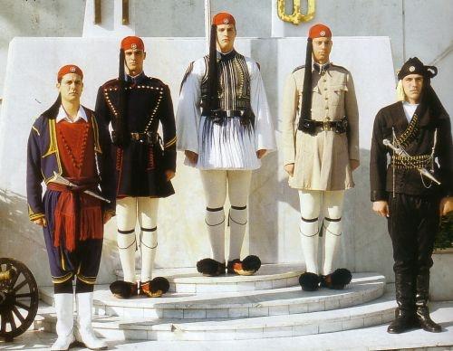 From the left: Cretan Uniform, Winter Doulamas, Ceremony Uniform, Summer Doulamas, Pontian Uniform