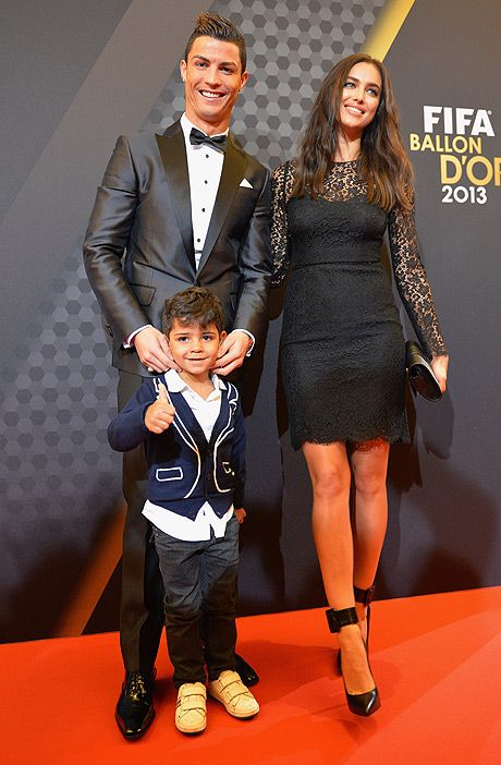 Cristiano Ronaldo, his son Cristian Jnr and girlfriend Irina Shayk at the Ballon D'Or in January