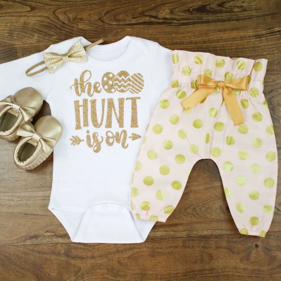 baby girl Easter outfit | The Hunt Is On | Baby Easter Outfit | Pink and Gold Dot High Wasted Pants With Gold Glitter The Hunt Is On