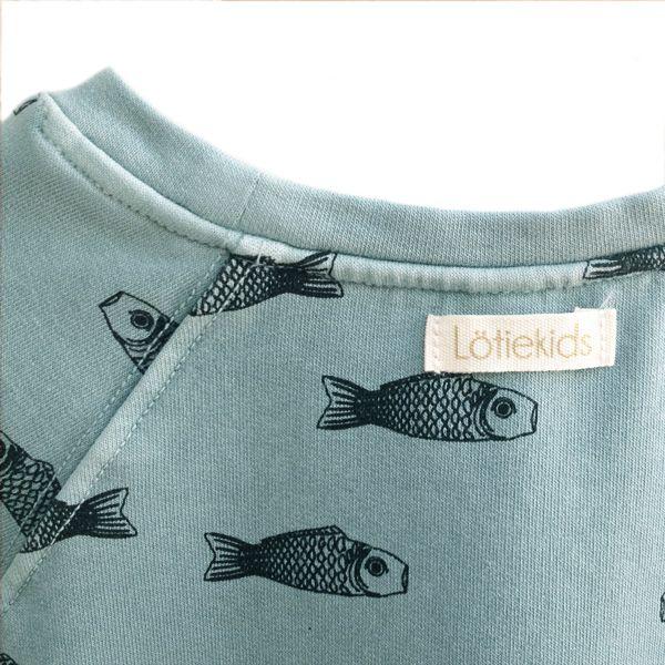 Grey blue Sweatshirt with fishes - lötiekids SS15