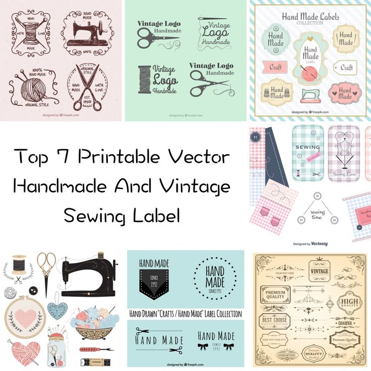 Below is my list of best 7 Printable Vector Handmade And Vintage Sewing Label. There are set of various vintage sewing machine tags and fabrics. Perfect for sewing project or any other.