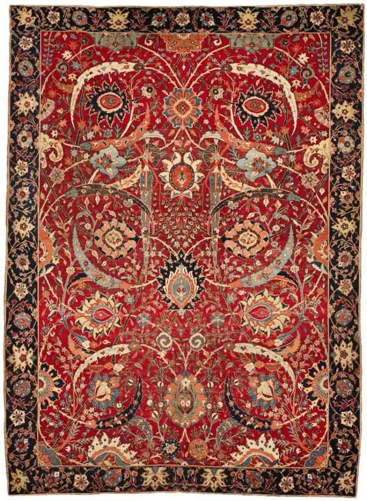 The Bacri-Clark Kerman Sickle-Leaf Throne Carpet. Kerman, South Persia, second half of the sixteenth century, 1.95m x 2.65m (6ft 5in x 8ft 8in), wool pile on a cotton and silk foundation. Sotheby's New York, 5 June 2013, lot 12. Estimate $5,000,000-$7,000,000, sold for $33,765,000