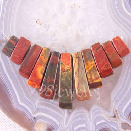 Free-Shipping-Natural-Stone-Red-Picasso-Jasper-Beads-Pendant-Set-11Pcs-LK1208