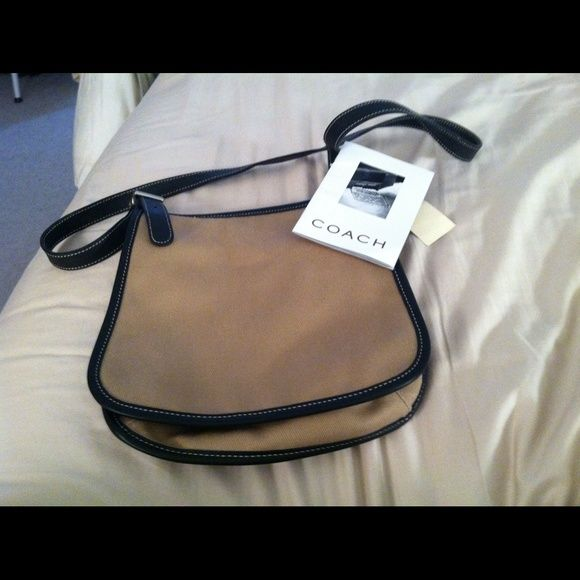 Coach BagSALE Additional $5 off  REDUCING Authentic Coach over the shoulder messenger bag.  Flaps over. Canvas material, beige in color. Dark brown strap and piping around bag.  Side pocket on outside.  Inside zipper pouch.  Straps are adjustable, belt buckle look. Clean never used.  Cute & convenient. Coach Bags