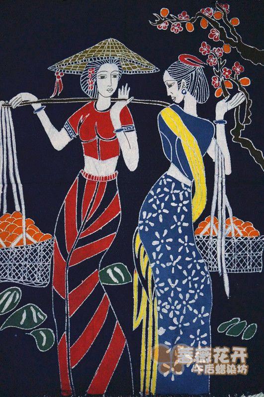 贵州安顺苗家蜡染布 室内布艺装饰画壁画桌布门帘-淘宝网
