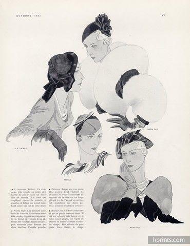 Suzanne Talbot, Maria Guy, Caroline Reboux (Millinery) 1932