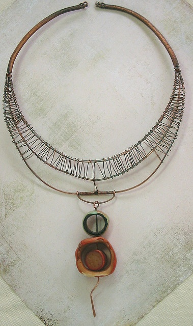 Wire wrap necklace. Bohemian.