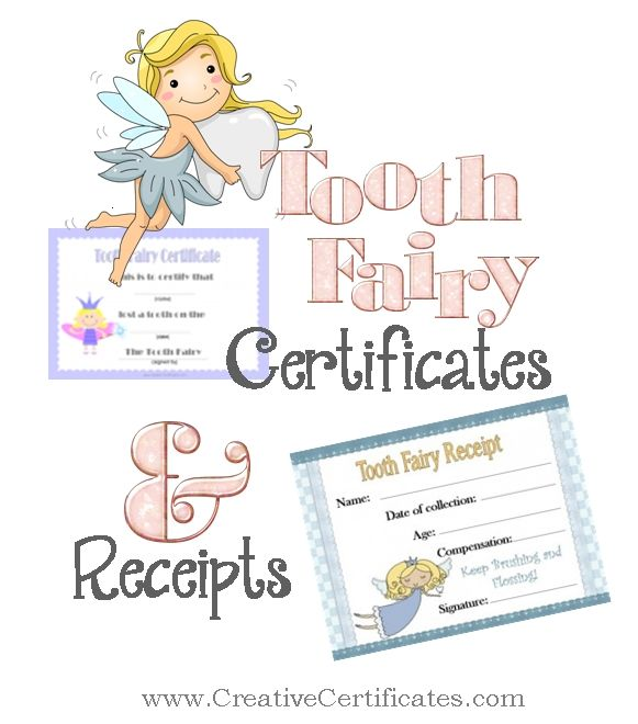 Free printable tooth fairy certificates and receipts for ...