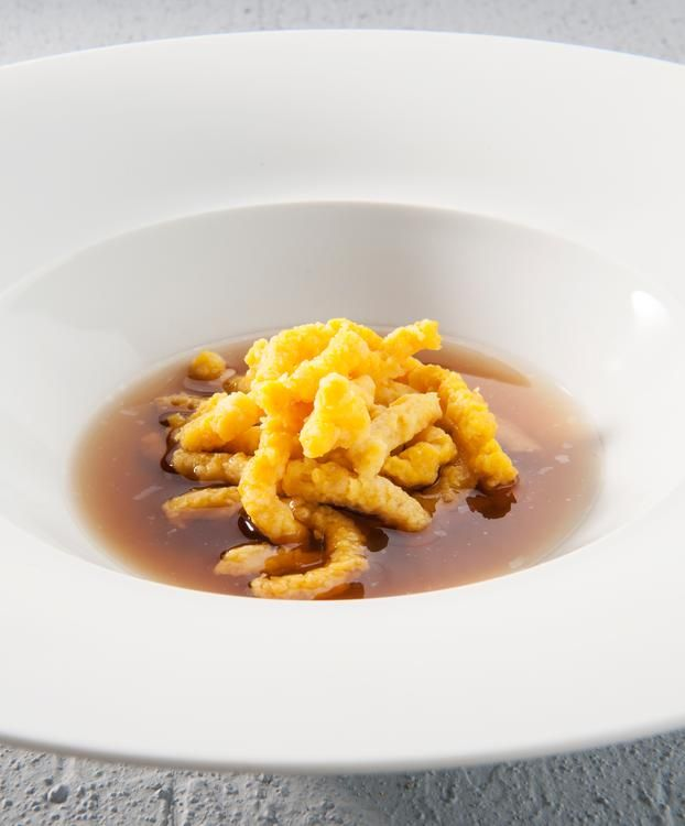 Chef Massimo Bottura's passatelli, a traditional pasta made with eggs and Parmigiano cheese.