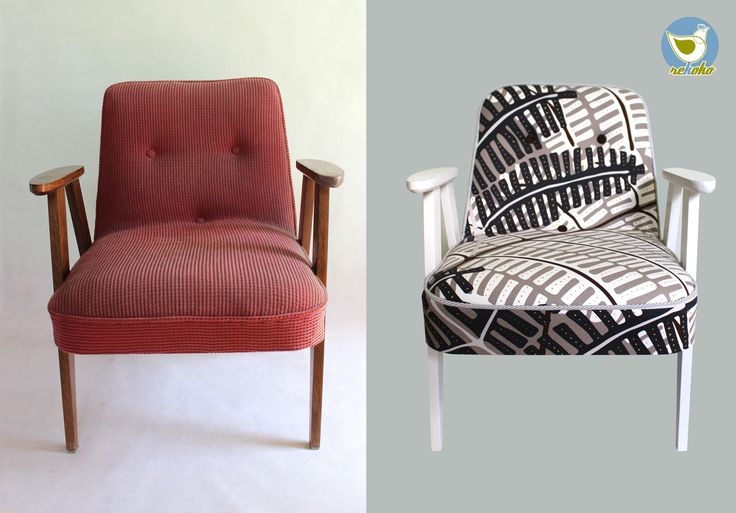 "Easy chair before and after renovation. Handmade by my Rekoko company. This armchair is called ""366"" and was produced in 1962 by Józef Marian Chierowski - famous Polish designer."