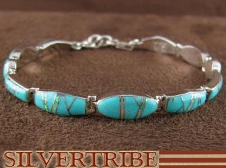 Turquoise And Opal Inlay Sterling Silver Link Bracelet