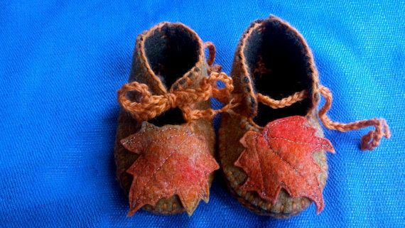 Waldorf Baby Slippers Autumn Leaves by wildchildclayworks on Etsy