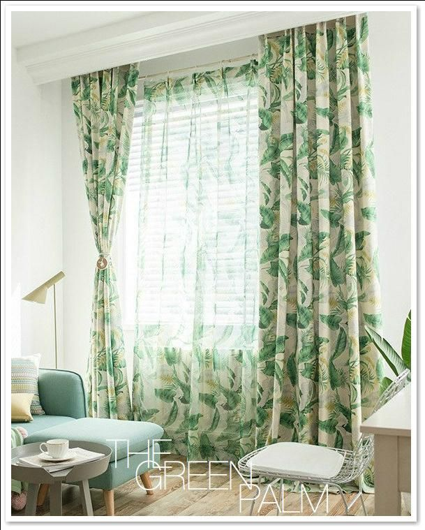 Green Palm Leaf Custom Sheer Blackout Curtain Set Curtains