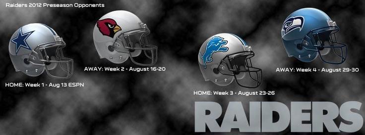 Oakland Raiders 2012 Preseason schedule