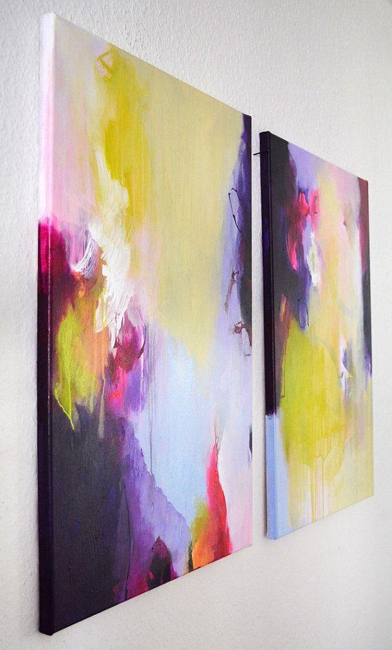 2 Teile original abstrakte Malerei auf gestreckten von ARTbyKirsten